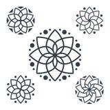 Eenvoudige geometrische mandala logotype Cirkelembleem voor boutique, bloemwinkel, binnenlandse zaken, Stock Afbeelding