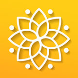Eenvoudige geometrische mandala logotype Cirkelembleem voor boutique, bloemwinkel, binnenlandse zaken, Stock Foto's