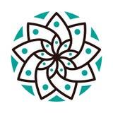 Eenvoudige geometrische mandala logotype Cirkelembleem voor boutique, bloemwinkel, binnenlandse zaken, Royalty-vrije Stock Afbeeldingen