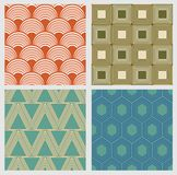 Eenvoudige geometrische naadloze patronen in retro stijl Stock Foto