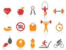 Eenvoudige geplaatste geschiktheidspictogrammen, oranje kleurenreeksen Stock Afbeeldingen