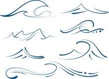 Eenvoudige geplaatste golven Royalty-vrije Stock Foto's