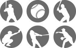 Eenvoudige geplaatste honkbalpictogrammen Stock Afbeeldingen