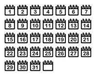 Eenvoudige Geplaatste Kalendermaandpictogrammen Vector Stock Fotografie