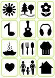 Eenvoudige geplaatste pictogrammen Royalty-vrije Stock Afbeeldingen
