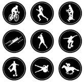 Eenvoudige geplaatste sportpictogrammen Stock Foto's