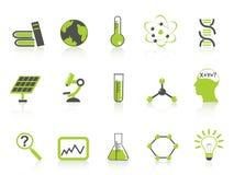 Eenvoudige geplaatste wetenschapspictogrammen, groene reeksen Royalty-vrije Stock Afbeeldingen