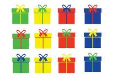 Eenvoudige giftdozen in vier kleurenvariaties Royalty-vrije Stock Foto's