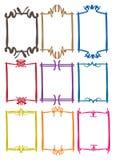 Eenvoudige grensontwerpen met verschillende kleuren Stock Foto's