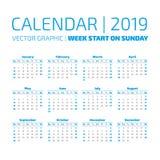 Eenvoudige het jaarkalender van 2019 Royalty-vrije Stock Afbeeldingen