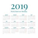 Eenvoudige het jaarkalender van 2019 Stock Fotografie
