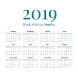Eenvoudige het jaarkalender van 2019 Royalty-vrije Stock Foto's
