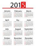 Eenvoudige het jaarkalender van 2015 Stock Fotografie