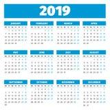 Eenvoudige het jaarkalender van 2019 Stock Foto's