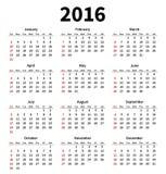 Eenvoudige het jaarkalender van 2016 op witte achtergrond Royalty-vrije Stock Foto's