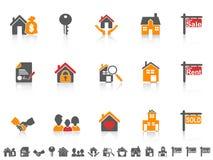 Eenvoudige het pictogramreeks van kleurenonroerende goederen Stock Foto