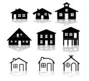 Eenvoudige huis vectorillustraties royalty-vrije illustratie