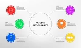 Eenvoudige Infographics 6 optie Royalty-vrije Stock Afbeeldingen