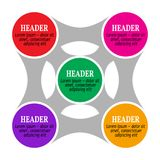 Eenvoudige infographics, vijf die delen met elkaar worden verbonden Stock Foto's