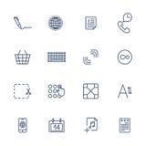 Eenvoudige Internet-geplaatste pictogrammen Universele Internet-pictogrammen Stock Fotografie