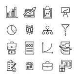 Eenvoudige inzameling van freelance verwante lijnpictogrammen Stock Fotografie