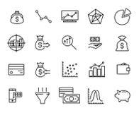 Eenvoudige inzameling van investeringen verwante lijnpictogrammen Stock Fotografie