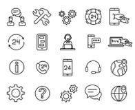 Eenvoudige inzameling van pictogrammen van de klanten de de dienst verwante lijn stock illustratie