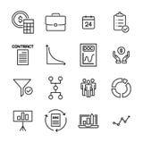 Eenvoudige inzameling van strategie verwante lijnpictogrammen Stock Afbeelding
