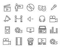 Eenvoudige inzameling van vermaak verwante lijnpictogrammen stock illustratie