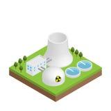 Eenvoudige isometrische kernenergieinstallatie Royalty-vrije Stock Foto