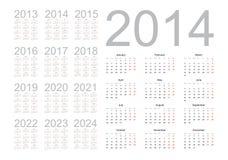 Eenvoudige kalender 2014 Stock Afbeeldingen