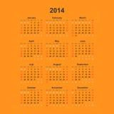 Eenvoudige kalender, 2014 Stock Afbeelding