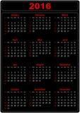 Eenvoudige Kalender 2016 Stock Afbeelding