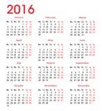 Eenvoudige Kalender 2016 Royalty-vrije Stock Fotografie