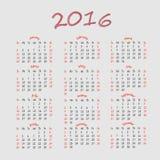 Eenvoudige Kalender 2016 Stock Foto's