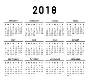 Eenvoudige kalender 2018 Royalty-vrije Stock Afbeelding