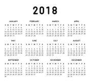 2018 Eenvoudige Kalender Stock Afbeelding
