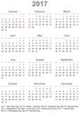 Eenvoudige kalender 2017 met officiële feestdagen voor de V.S. Stock Afbeelding