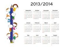 Eenvoudige kalender op nieuw schooljaar 2013 en 2014 Stock Foto
