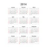 Eenvoudige kalender, 2014. Vector Stock Afbeelding