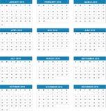 Eenvoudige Kalender 2016 Vector illustratie Royalty-vrije Stock Foto's