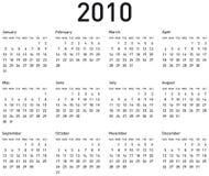 Eenvoudige Kalender voor 2010. Stock Afbeeldingen