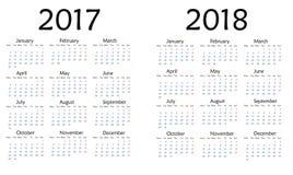 Eenvoudige kalender voor het jaar van 2017 en van 2018 Stock Afbeelding