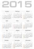 Eenvoudige kalender voor het jaarvector van 2015 Royalty-vrije Stock Afbeelding