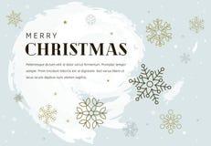 Eenvoudige Kerstkaart met gouden sneeuwvlokken Stock Foto's