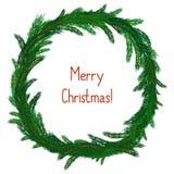 Eenvoudige Kerstmiskroon op wit Stock Foto's
