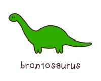Eenvoudige Kinderachtige Brontosaurus die op Witte Achtergrond trekken Stock Afbeeldingen
