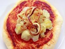 Eenvoudige kleine pizza (pizzette) met ui Stock Fotografie