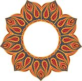 Eenvoudige kleurrijke abstracte mandala, beweging veroorzakende ethno Het heldere cirkelornament bestaat uit eenvoudige vormen Ge Royalty-vrije Stock Afbeeldingen
