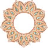 Eenvoudige kleurrijke abstracte mandala, beweging veroorzakende ethno Het heldere cirkelornament bestaat uit eenvoudige vormen Ge Stock Afbeeldingen